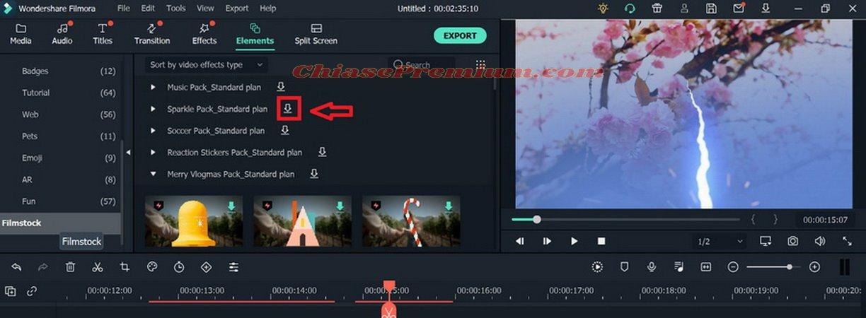 Bạn có thể tải thêm Effect trong mục Filmstock