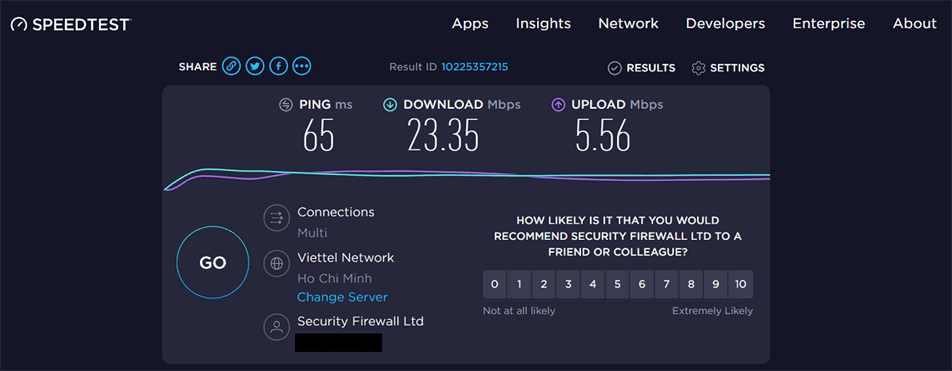 Tốc độ kết nối VPN trên tài khoản ExpressVPN premium