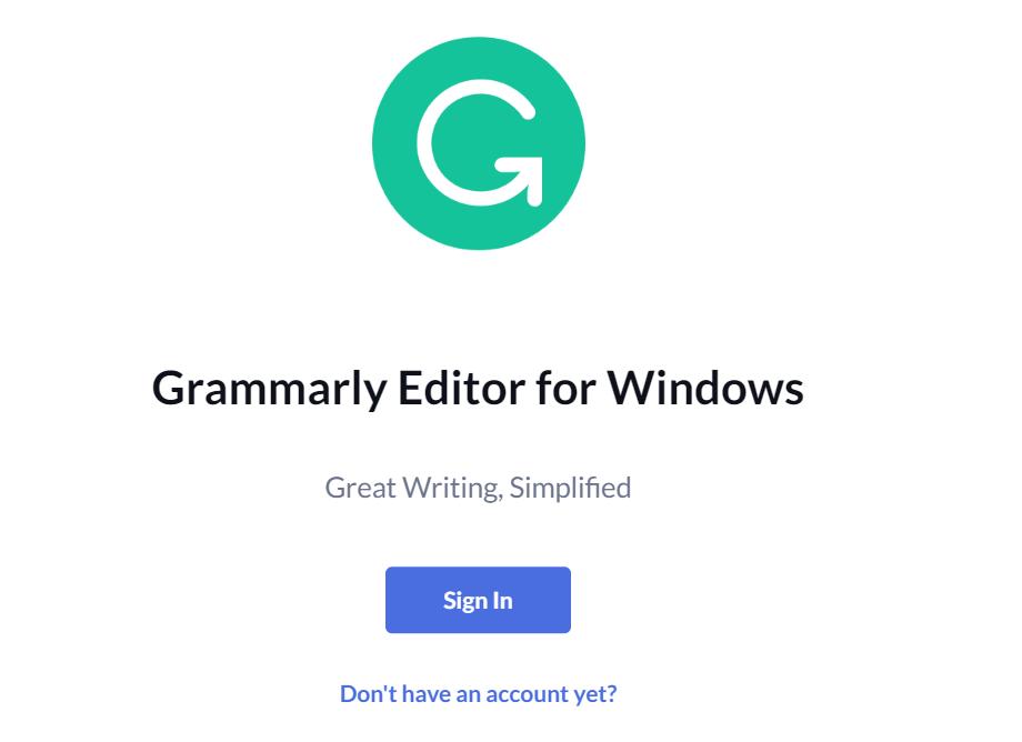 Mở app Grammarly lên, ấn vào nút login.