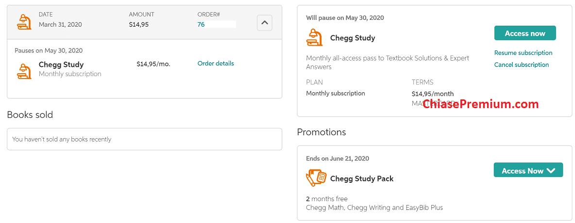 Gói Chegg Study Pack, miễn phí hai tháng