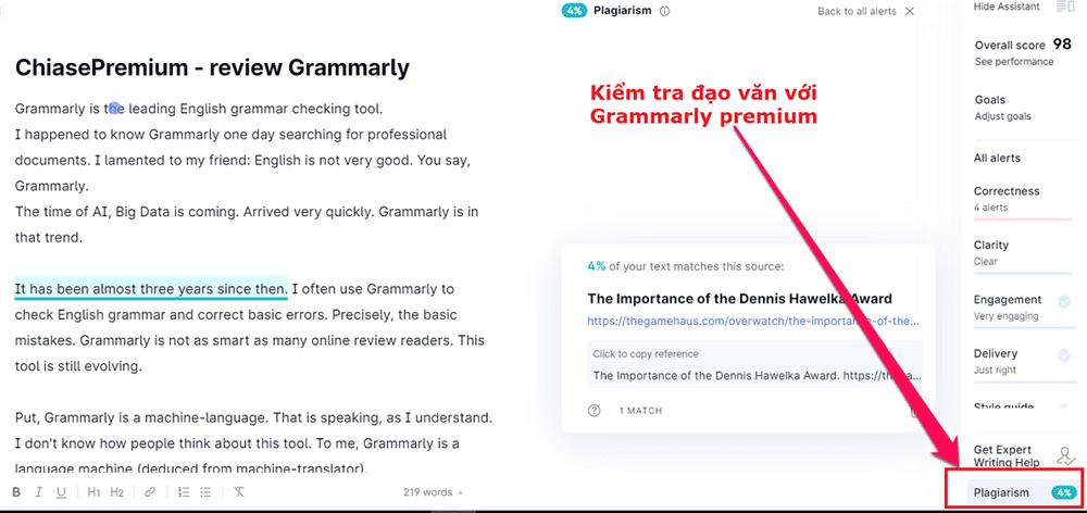 Hướng dẫn kiểm tra đạo văn với tài khoản Grammarly Premium