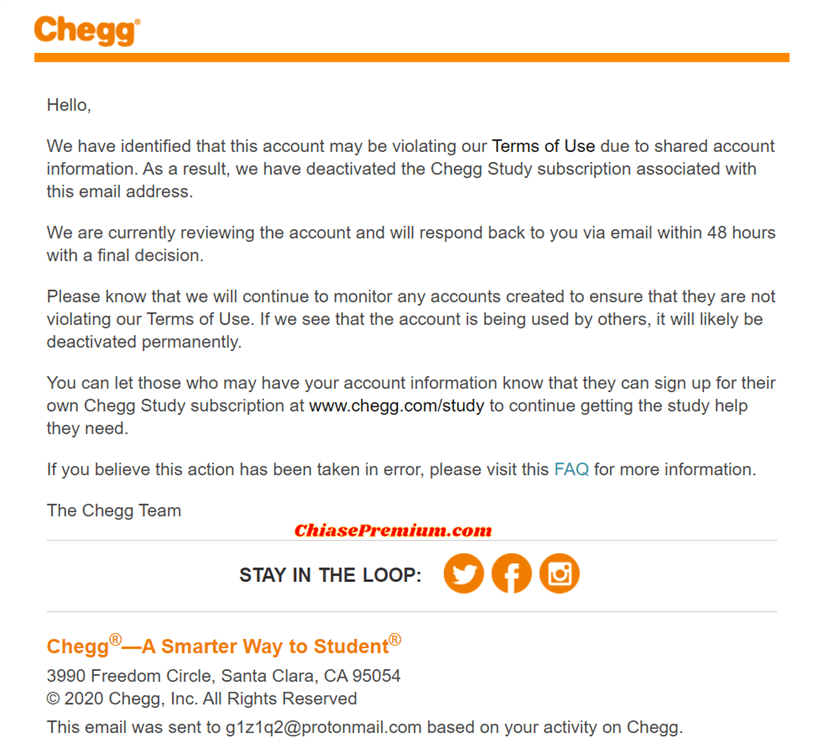 Email thông báo dừng truy cập dịch vụ Chegg để xem xét vi phạm của bạn.