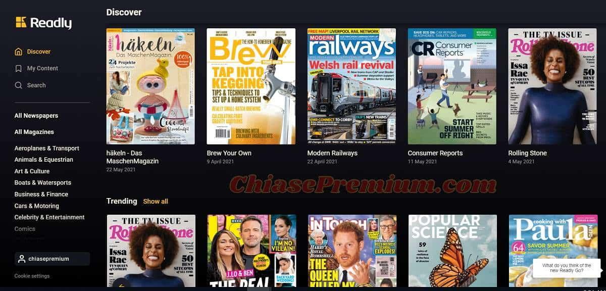 Readly có khoảng 5000 đầu tạp chí báo in khác nhau