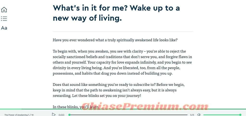 """Giao diện đọc web của một blink, tựa sách """"The Power of Awakening"""" (Tạm dịch: Sức mạnh của sự tỉnh thức)"""