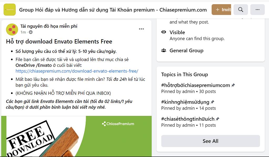hỗ trợ download Envato Elements Free