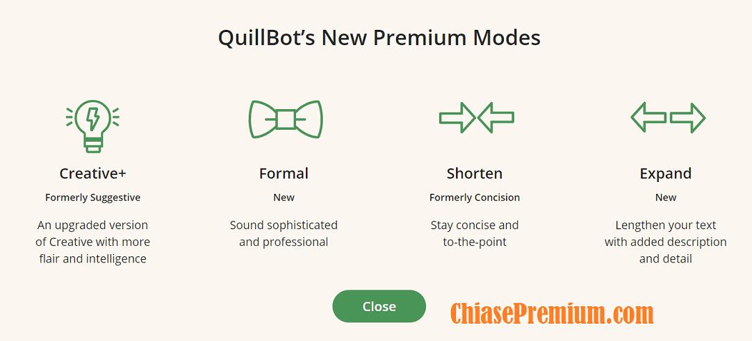 QuillBot đã bổ sung thêm 4 chế độ văn bản cho gói premium.