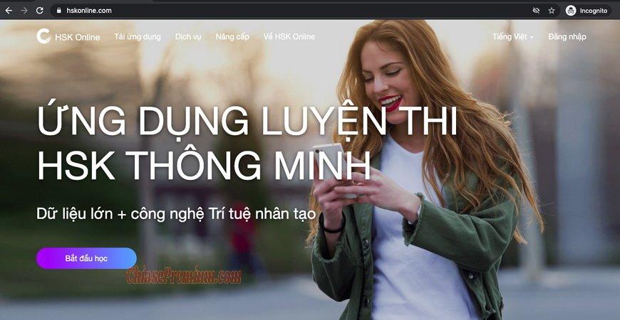 Bạn cũng có thể truy cập vào website HSKOnline để học tiếng Trung trên máy tính.