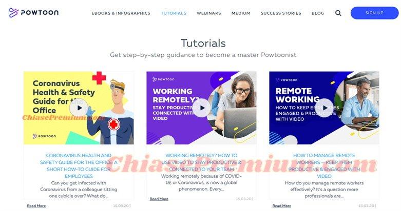 Powtoon có nhiều hướng dẫn trợ giúp người dùng khi sử dụng.