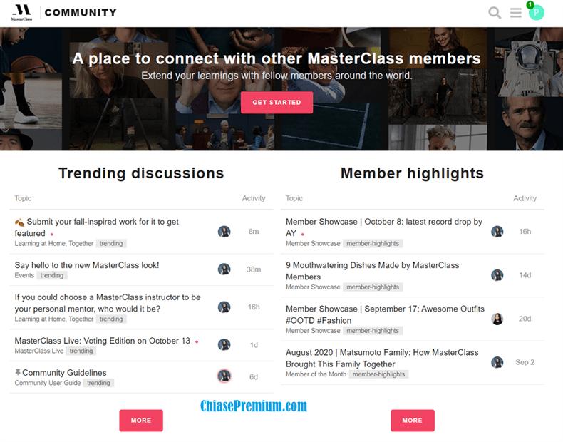 Cộng đồng trao đổi, hỗ trợ trên MasterClass (chỉ có ở phiên bản web)