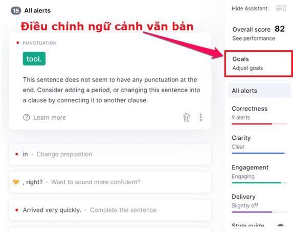 Bạn có thể thay đổi thiết lập kiểm tra chính tả theo ngữ cảnh bất cứ lúc nào.