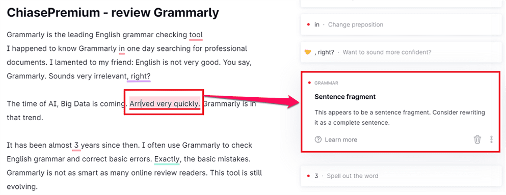 Grammarly đưa ra gợi ý chỉnh sửa khá chi tiết