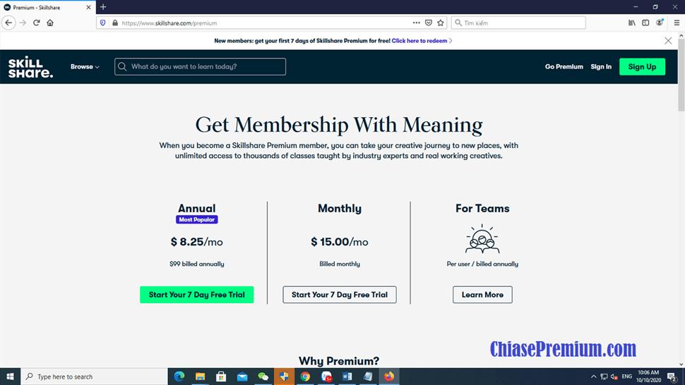 Chi phí đăng ký tài khoản Skillshare Premium