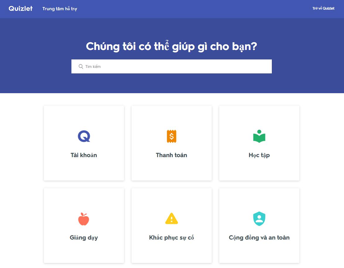 Quizlet là ứng dụng hỗ trợ tiếng Việt đầy đủ, từ giao diện ứng dụng cho đến trang hỗ trợ sử dụng chi tiết.