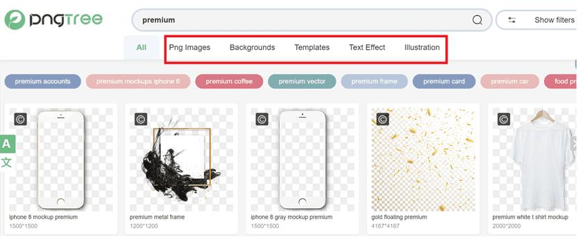 Danh mục tài nguyên đồ họa trên tài khoản PNGtree premium