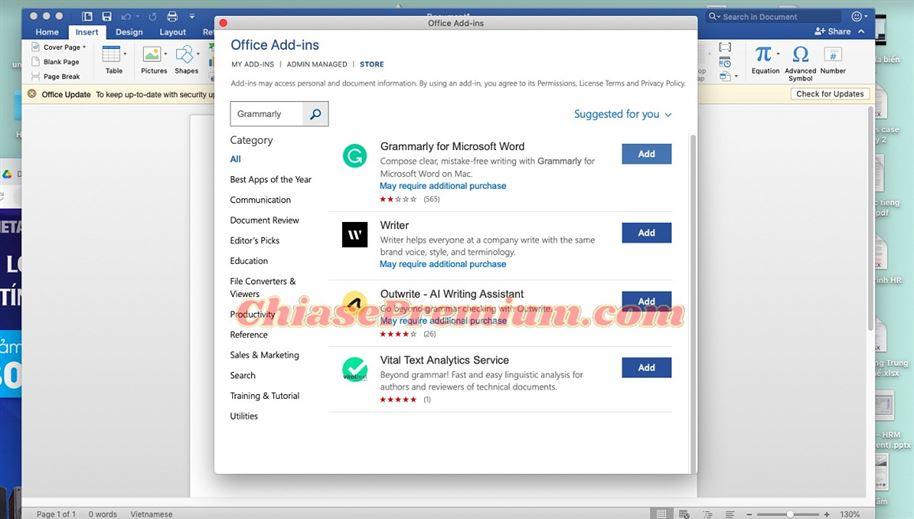 Hướng dẫn sử dụng Grammarly trên MicrosoftWord(tiếp theo)