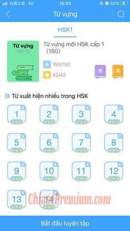 Bạn có thể chọn mục Từ vựng để học hết các từ vựng thường ra trong kì thi HSK