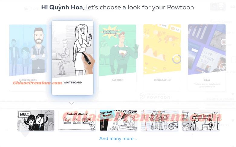 Powtoon cũng hỗ trợ tạo video trên bảng trắng
