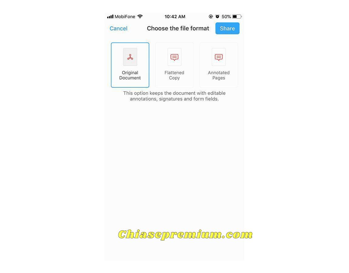 Bạn có thể Share file PDF với nhiều Format khác nhau, phù hợp với mục đích của bạn.