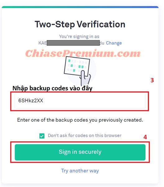 """Nhập backup codes sau đó ấn """"Sign in securely""""."""