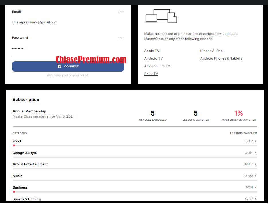 Chia sẻ tài khoản MasterClass truy cập mọi khóa học