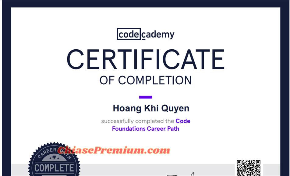 Chứng chỉ hoàn thành khóa học trên CodeCademy (bạn có thêm chứng chỉ này vào profile trên Linkedin)