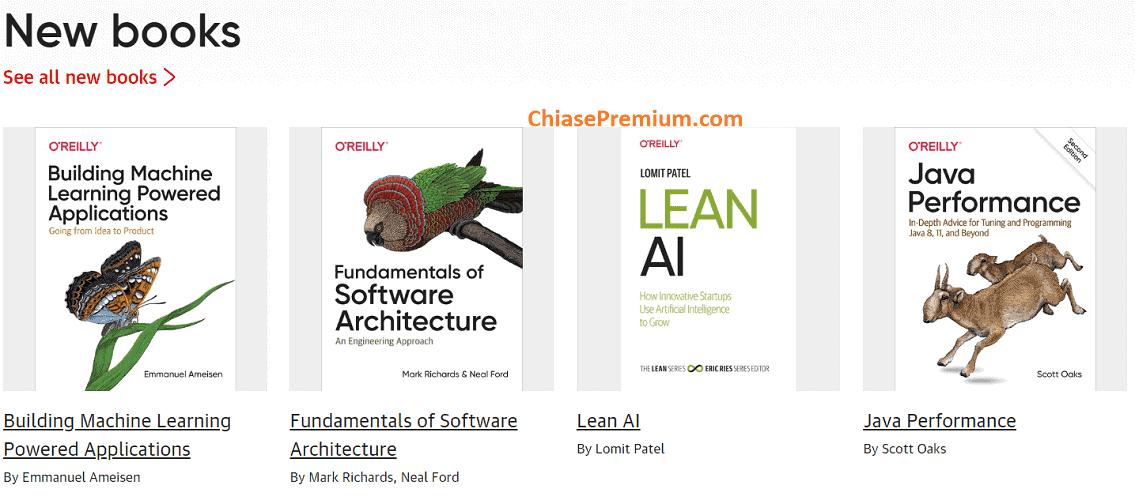 O'Reilly Online Learning có rất nhiều sách mới cập nhật về nhiều chủ đề khác nhau, nhiều nhất vẫn là công nghệ thông tin và lập trình.