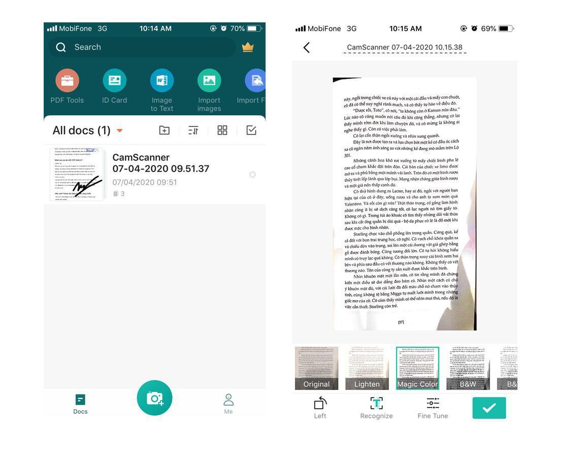 Thiết kế và bố cục của CamScanner giúp bạn dễ dàng trong việc sử dụng app