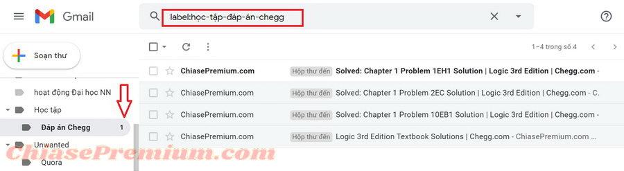 Mở thư mục riêng về đáp án từ Chegg