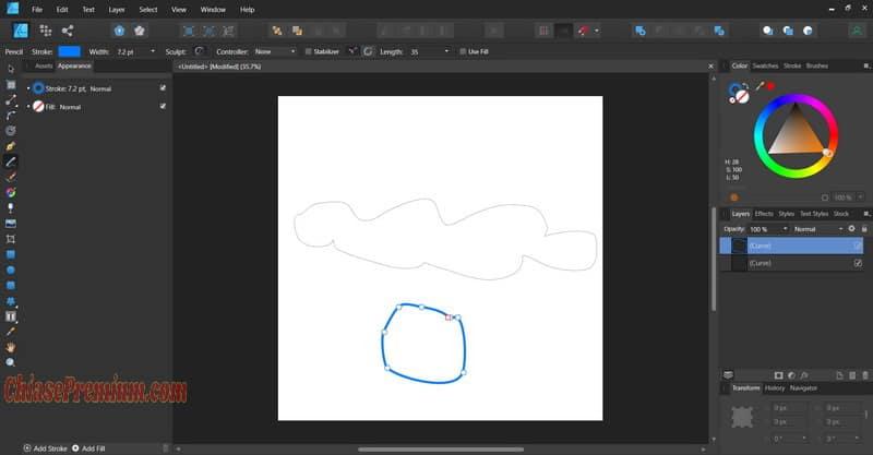 Hình ảnh vẽ tay với Pencil Tool.