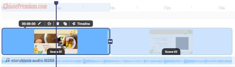 Ở phần Timeline, bạn click chọn Scene 1 hoặc Scene 2 để thêm chữ vào video