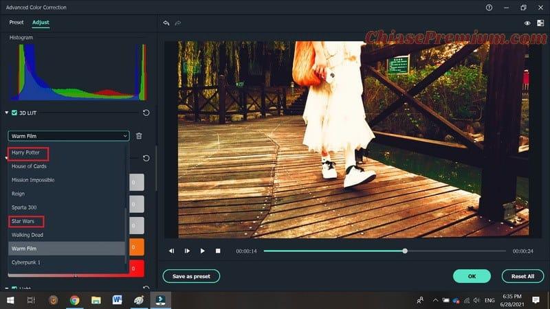 3D LUT: Các bộ màu mô phỏng phim nổi tiếng
