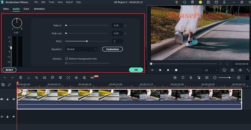 Adjust Audio - Advanced Audio Editing trên Filmora X