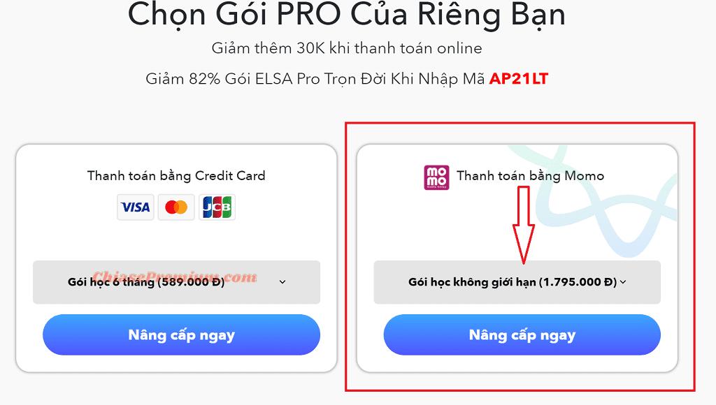 Cách mua tài khoản ELSA