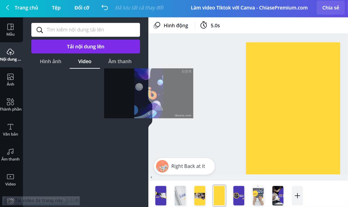 Bước 2: Kéo video đã upload vào khung thiết kế