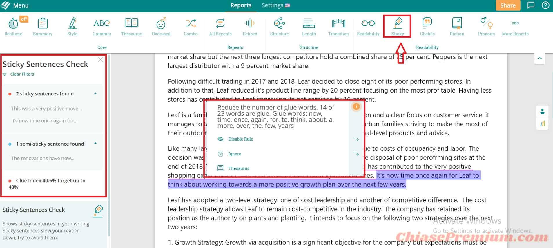 Sticky - Sử dụng báo cáo và các đề xuất từ tính năng Sticky