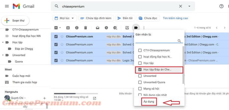 Chọn tên nhãn dán phù hợp với nội dung email