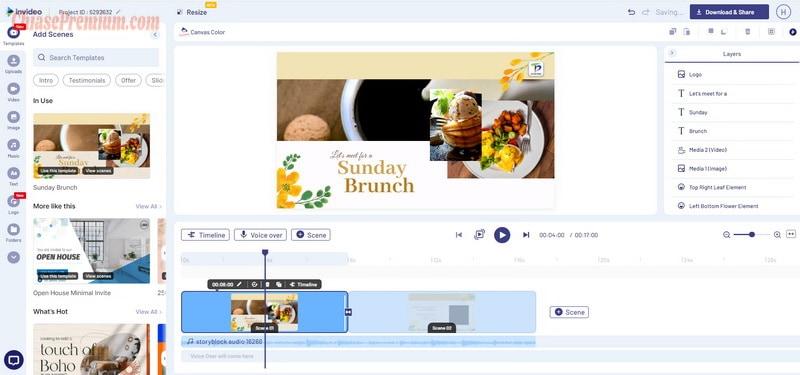 Trình chỉnh sửa của InVideo bao gồm 3 phần
