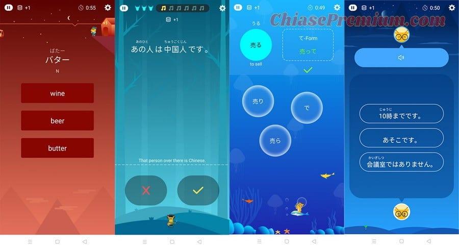 LingoDeer Plus có rất nhiều dạng bài tập khác nhau để bạn luyện tập giúp việc học tiếng Nhật trở nên thú vị và nhẹ nhàng hơn.