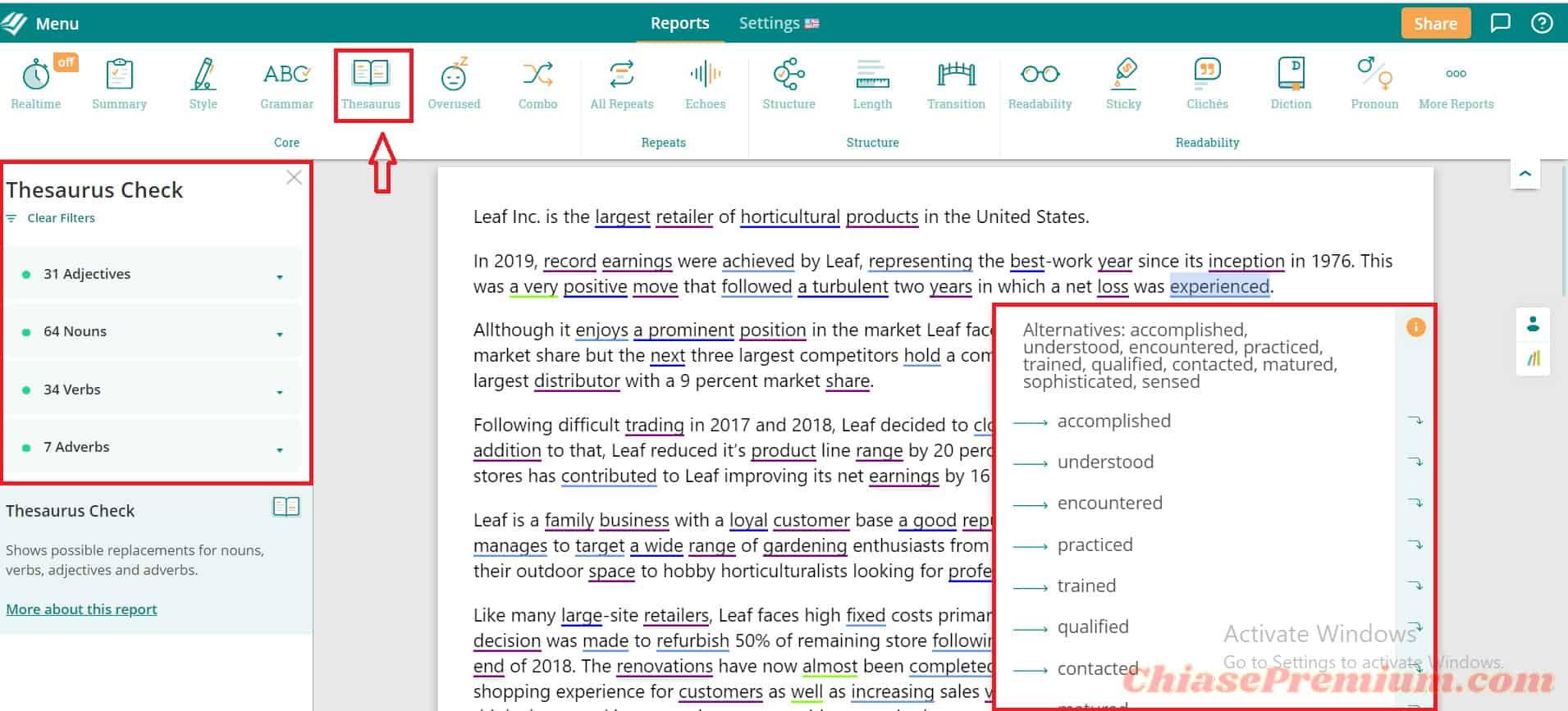 Báo cáo và đề xuất từ tính năng Thesaurus