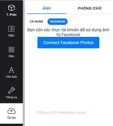 DesignBold cho phép bạn lấy hình trực tiếp từ Facebook