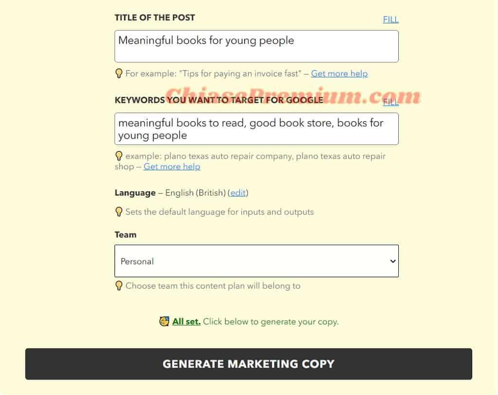 Những thông tin mà bạn điền trong phần này liên quan đến những loại content mà bạn chọn ở mục 4