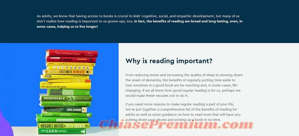 Blinkist đưa ra rất nhiều lợi ích của việc đọc sách dành cho người lớn, xem thêm tại: https://www.blinkist.com/en/importance-of-reading