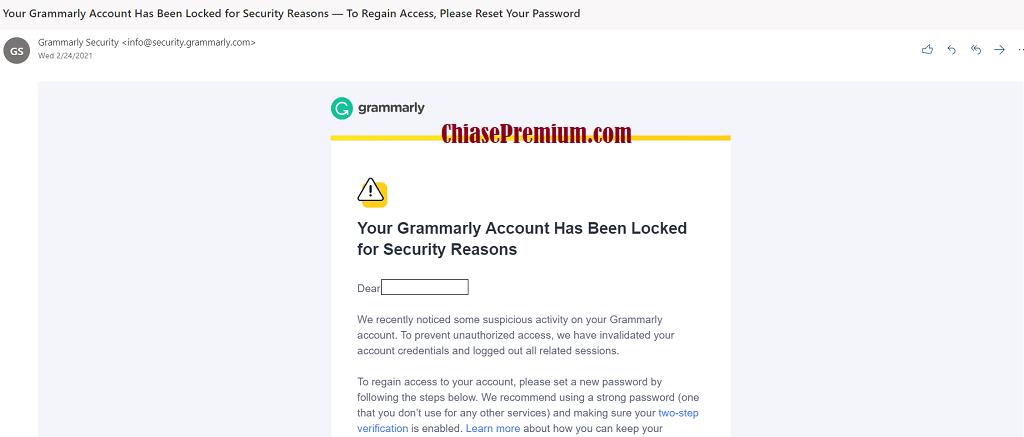 """Thông báo khóa tài khoản """"Your Grammarly Account Has Been Locked for Security Reasons"""""""