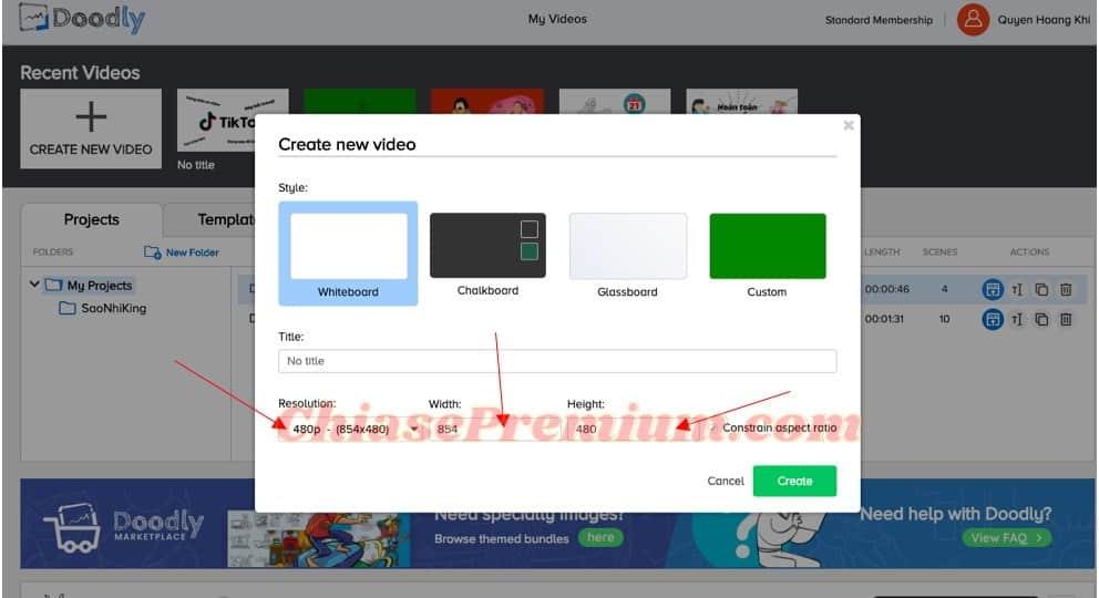 6-Lựa chọn độ phân giải, chiều rộng và chiều dài cho video