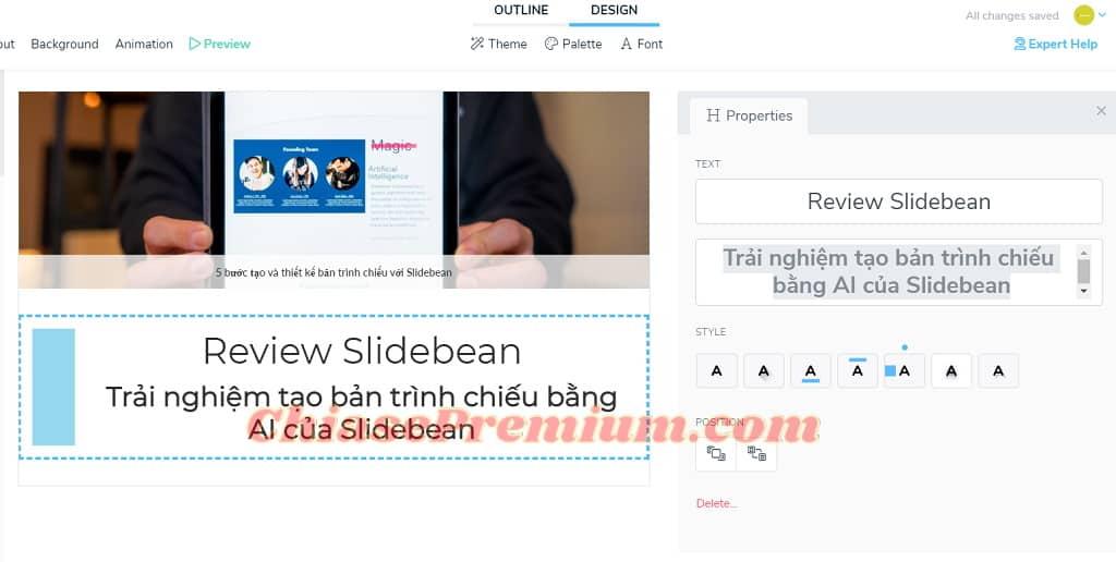 Bạn có thể trang trí và nhấn nhá nội dung bằng một số điều chỉnh của Slidebean nhanh chóng và dễ dàng.