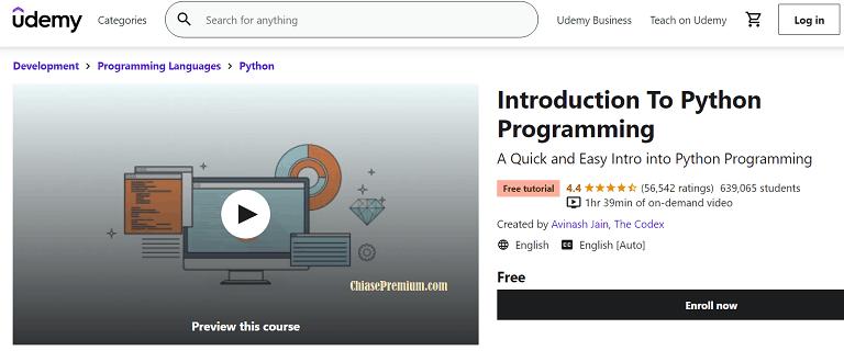 Khóa học Giới thiệu về Python trên Udemy có rất nhiều người theo học.