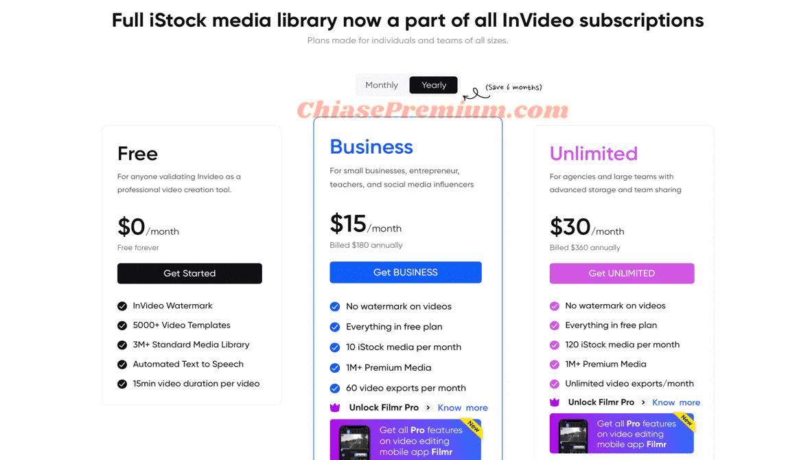 Các gói đăng ký của Invideo.io: Free, Business và Unlimited.