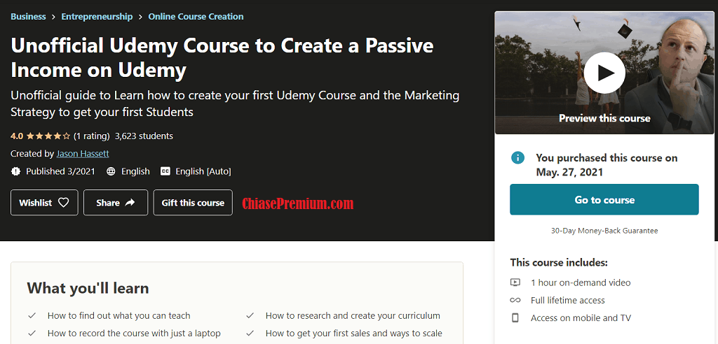 Unofficial Udemy Course to Create a Passive Income on Udemy