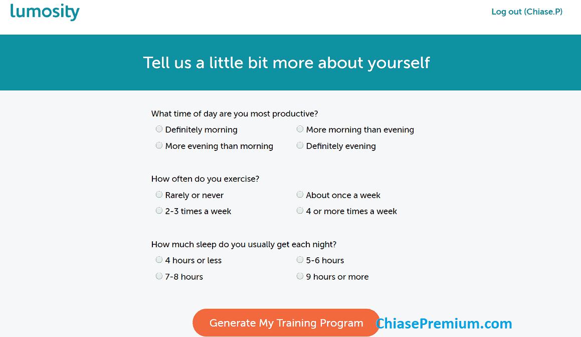 Lần đầu tiên truy cập vào tài khoản Lumosity, bạn được yêu cầu cá nhân hóa quá trình thực hành của mình...